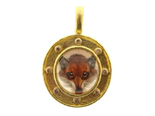 Elizabeth Locke One-Of-A-Kind Antique Essex Crystal Fox Head With Eight Cognac Diamonds On Flat Rimmed Bezel